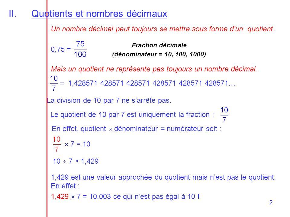 2 II.Quotients et nombres décimaux Un nombre décimal peut toujours se mettre sous forme dun quotient. 0,75 = Mais un quotient ne représente pas toujou