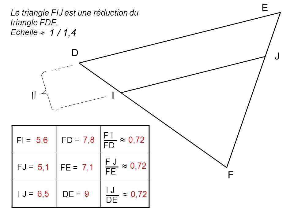 FI = FD = F I FD FJ = FE = F J FE I J = DE = I J DE 5,6 7,80,72 5,17,1 0,72 6,5 9 0,72 F D E I J Le triangle FIJ est une réduction du triangle FDE. Ec