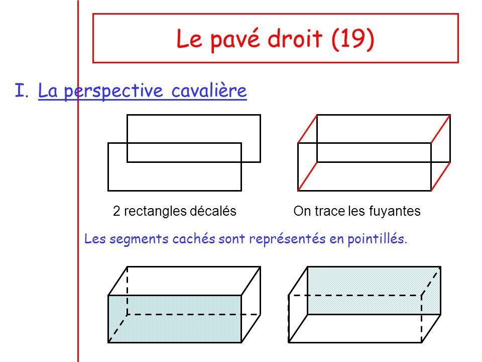 Le pavé droit (19) I.La perspective cavalière 2 rectangles décalésOn trace les fuyantes Les segments cachés sont représentés en pointillés.