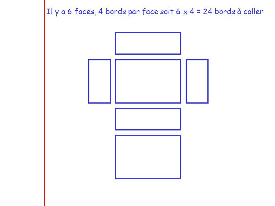 Il y a 6 faces, 4 bords par face soit 6 x 4 = 24 bords à coller