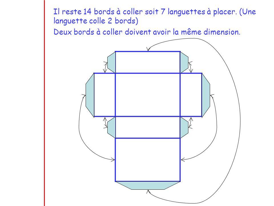 Il reste 14 bords à coller soit 7 languettes à placer. (Une languette colle 2 bords) Deux bords à coller doivent avoir la même dimension.