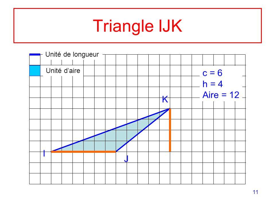 11 Triangle IJK K I J c = 6 h = 4 Aire = 12 Unité de longueur Unité daire