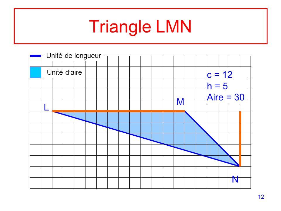 12 Triangle LMN M L N c = 12 h = 5 Aire = 30 Unité de longueur Unité daire