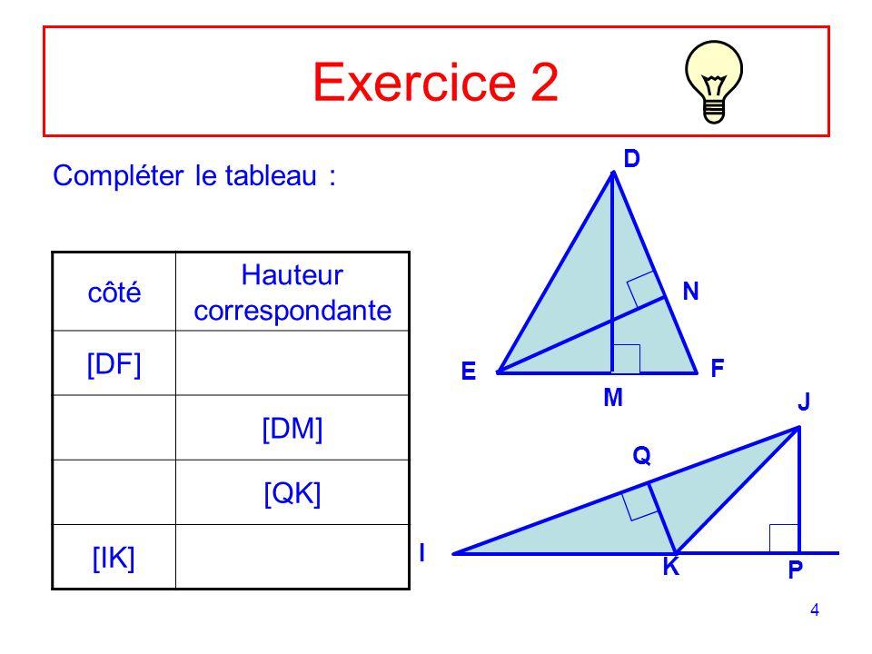 5 Correction Ex 2 Compléter le tableau : côté Hauteur correspondante [DF] [DM] [QK] [IK] D E F I J K N M Q P [EN] [EF] [IJ] [JP]