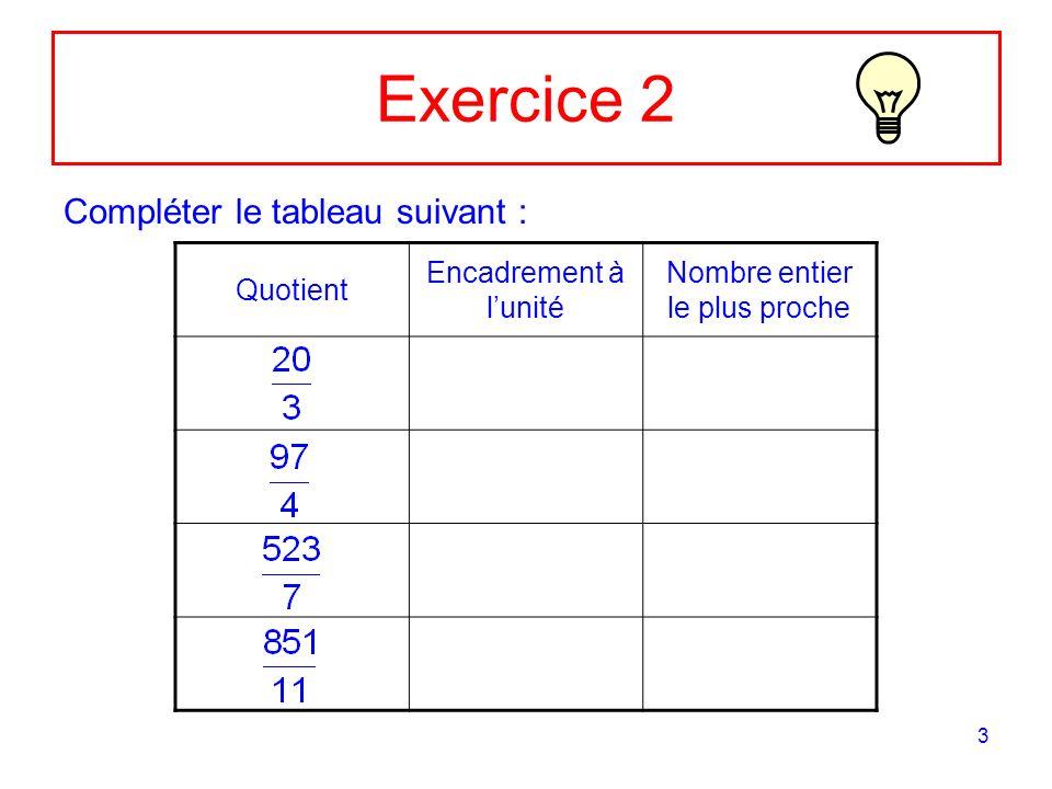 3 Exercice 2 Compléter le tableau suivant : Quotient Encadrement à lunité Nombre entier le plus proche