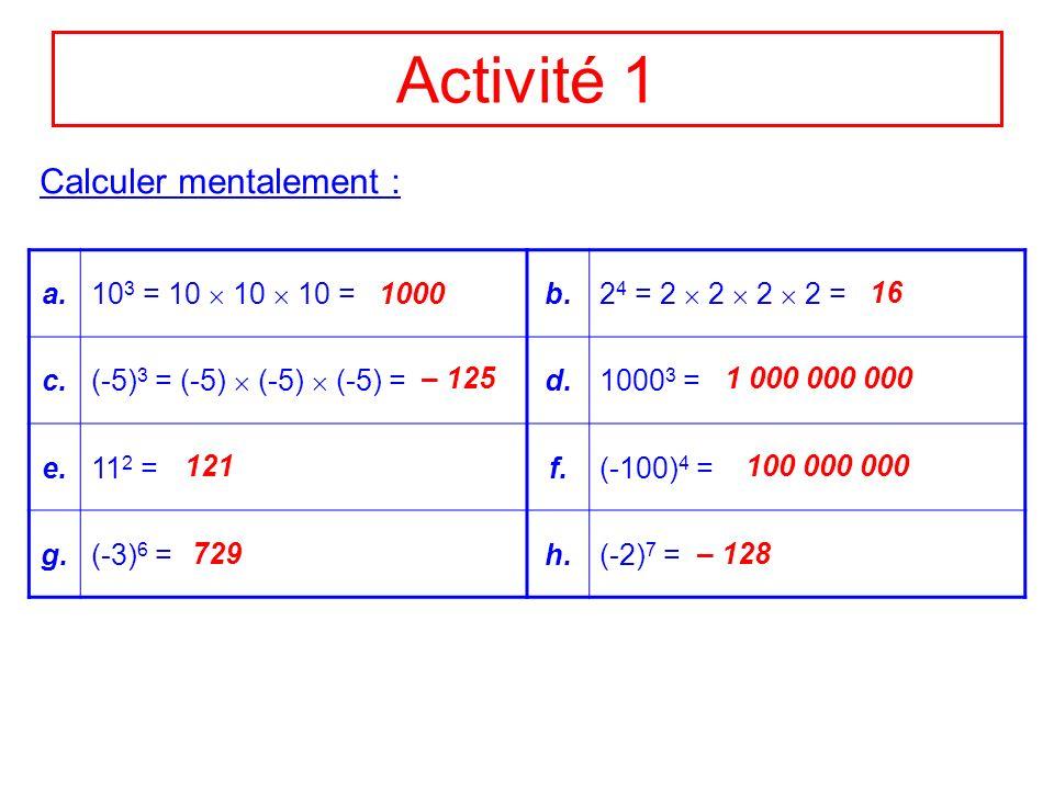 Activité 1 a. 10 3 = 10 10 10 = b. 2 4 = 2 2 2 2 = c. (-5) 3 = (-5) (-5) (-5) = d.1000 3 = e.11 2 =f.(-100) 4 = g.(-3) 6 =h.(-2) 7 = Calculer mentalem