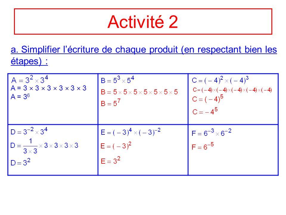 Activité 2 a. Simplifier lécriture de chaque produit (en respectant bien les étapes) : A = 3 3 3 3 3 3 A = 3 6