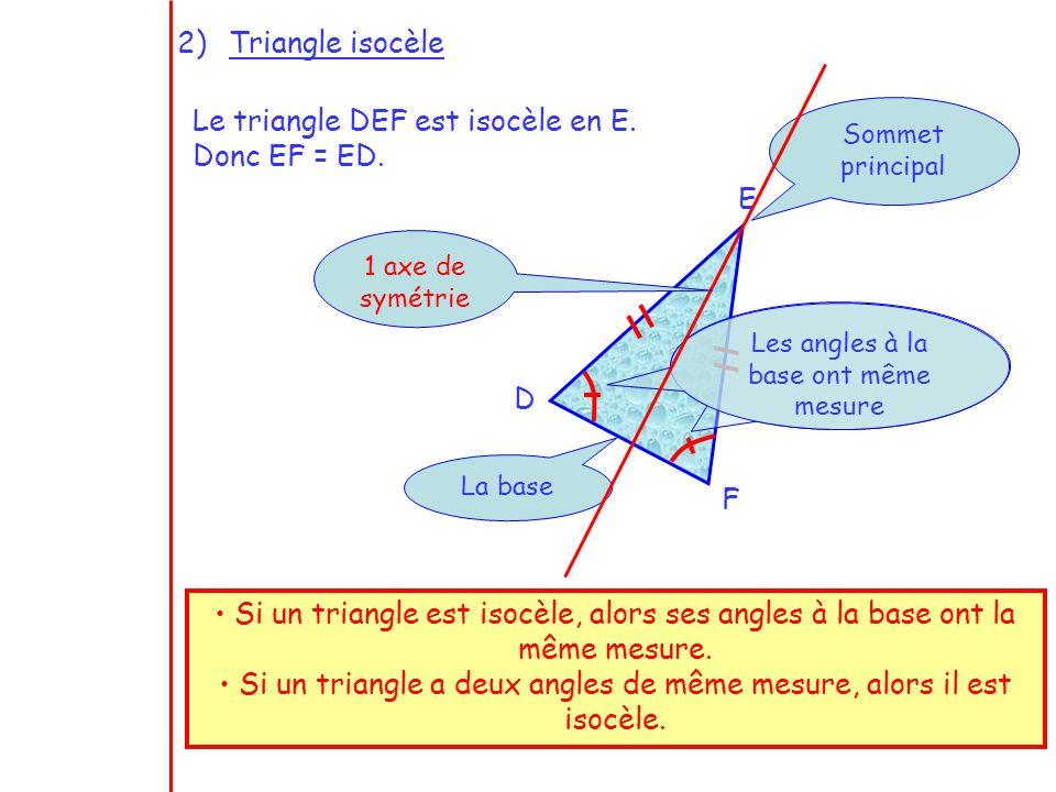 3 2)Triangle isocèle Le triangle DEF est isocèle en E. Donc EF = ED. D E F Sommet principal La base Si un triangle est isocèle, alors ses angles à la