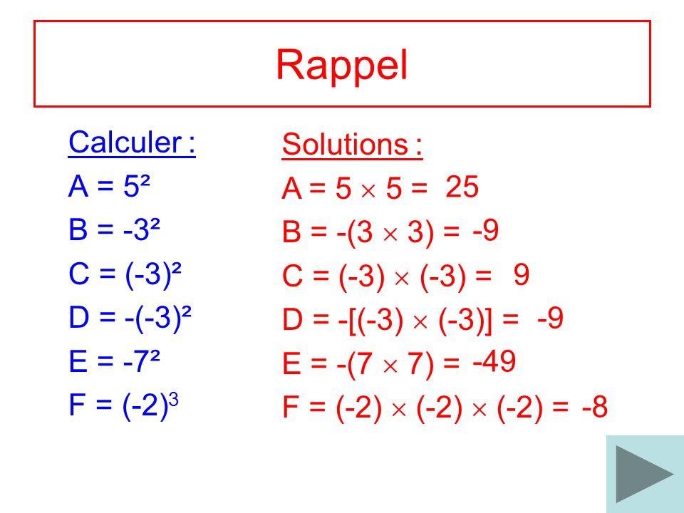 2 Rappel Calculer : A = 5² B = -3² C = (-3)² D = -(-3)² E = -7² F = (-2) 3 Solutions : A = 5 5 = B = -(3 3) = C = (-3) (-3) = D = -[(-3) (-3)] = E = -