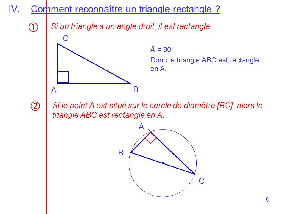 6 Si dans un triangle, la médiane relative à un côté a pour longueur la moitié de ce côté, alors le triangle est rectangle.