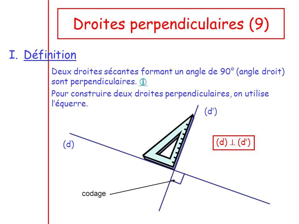 Droites perpendiculaires (9) I.Définition Deux droites sécantes formant un angle de 90° (angle droit) sont perpendiculaires. Pour construire deux droi
