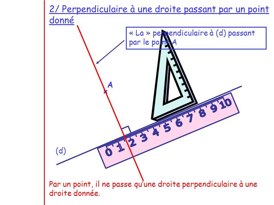 2/ Perpendiculaire à une droite passant par un point donné (d) A « La » perpendiculaire à (d) passant par le point A Par un point, il ne passe quune d