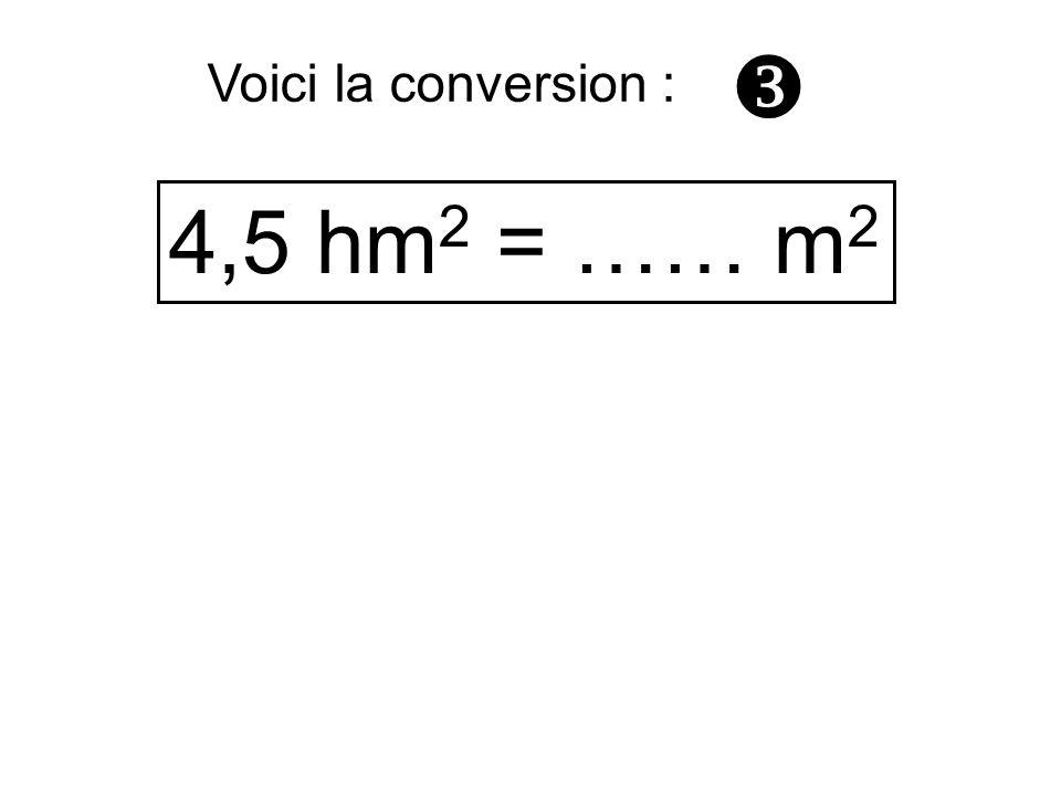 4,5 hm 2 = …… m 2 Voici la conversion :