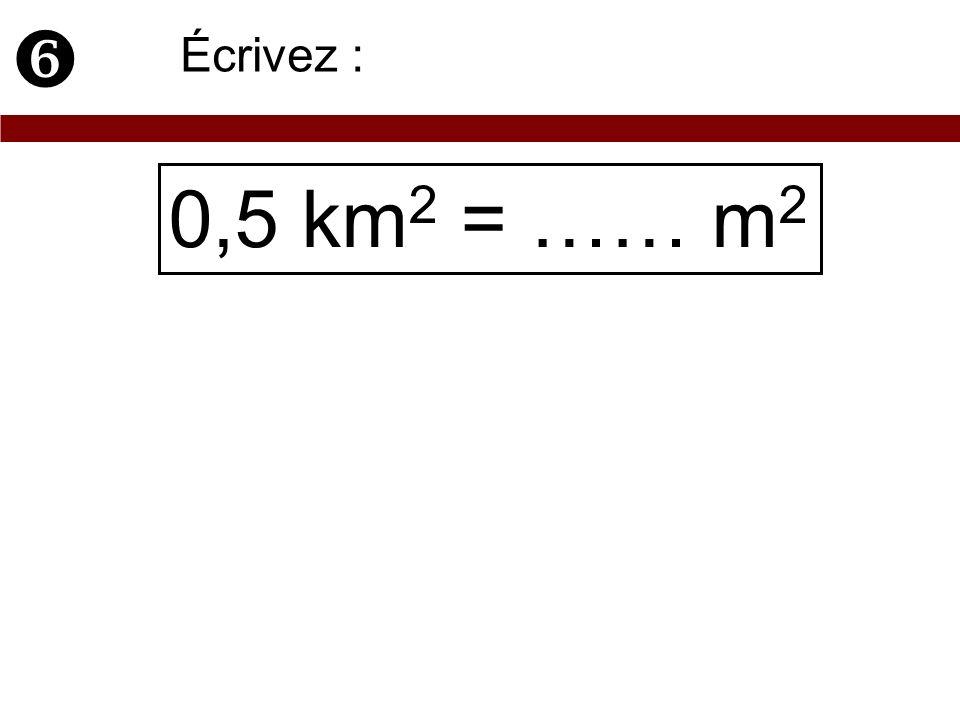 0,5 km 2 = …… m 2 Écrivez :