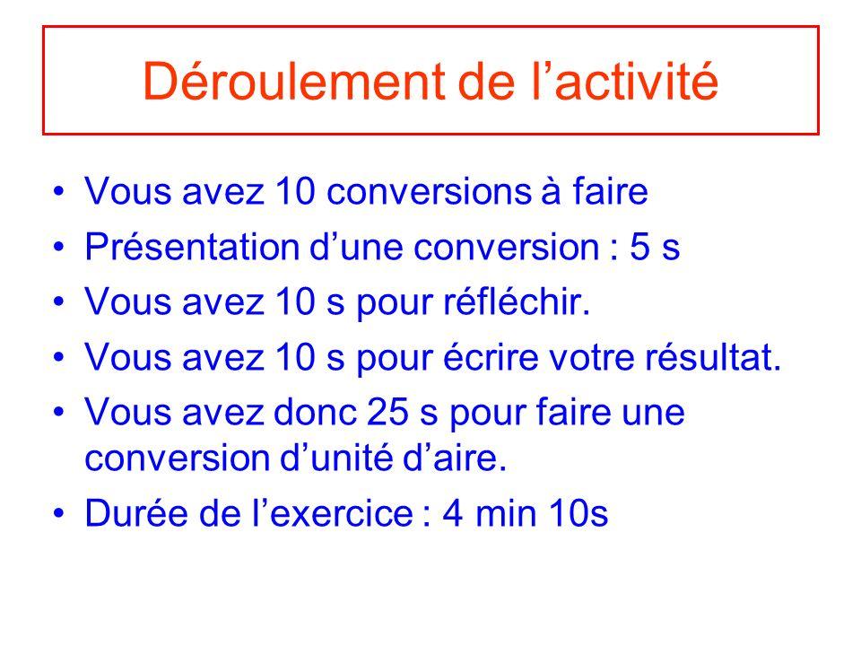 Déroulement de lactivité Vous avez 10 conversions à faire Présentation dune conversion : 5 s Vous avez 10 s pour réfléchir.