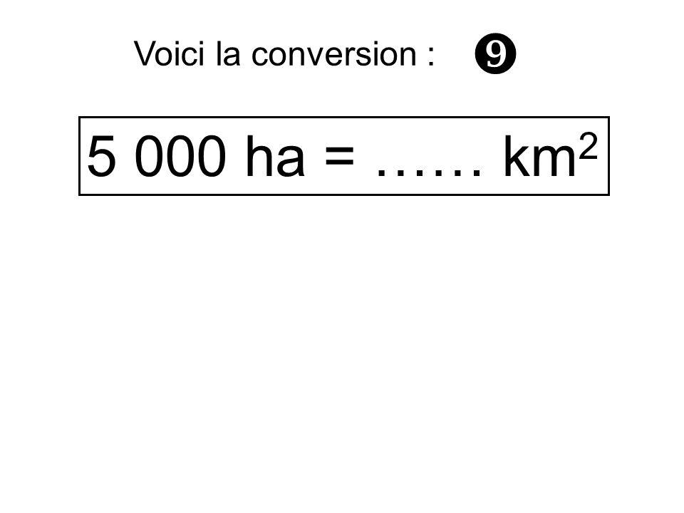 5 000 ha = …… km 2 Voici la conversion :