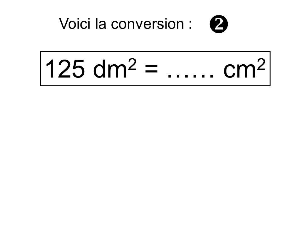 125 dm 2 = …… cm 2 Voici la conversion :