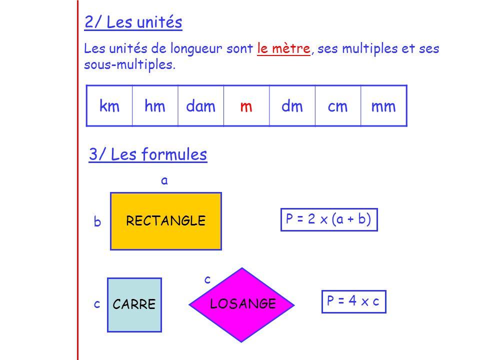 2/ Les unités kmhmdammdmcmmm Les unités de longueur sont le mètre, ses multiples et ses sous-multiples. 3/ Les formules RECTANGLE a b P = 2 x (a + b)