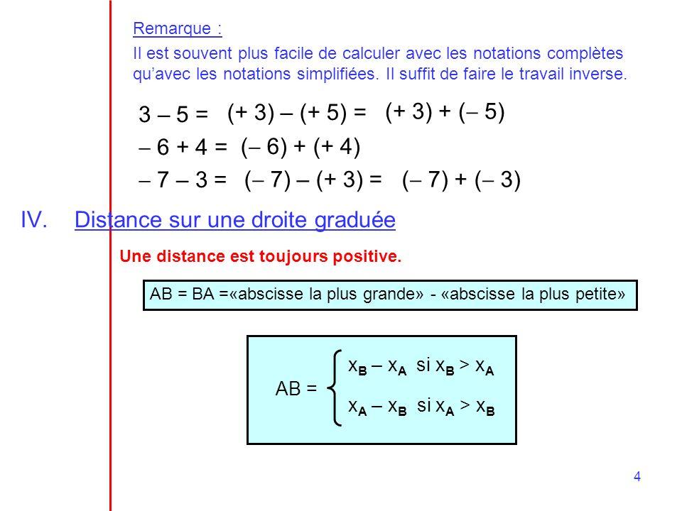 4 Remarque : Il est souvent plus facile de calculer avec les notations complètes quavec les notations simplifiées. Il suffit de faire le travail inver