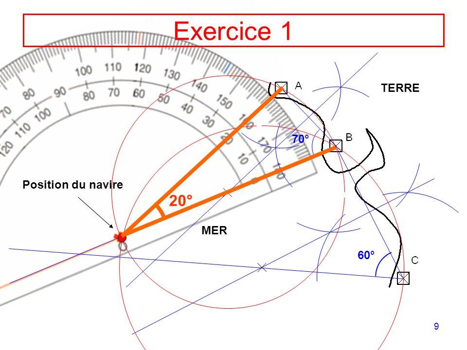 9 70° Exercice 1 TERRE MER 60° Position du navire 20°