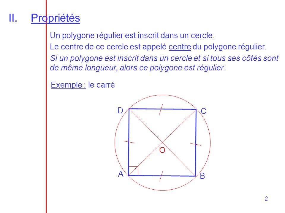2 II.Propriétés Un polygone régulier est inscrit dans un cercle. Le centre de ce cercle est appelé centre du polygone régulier. Si un polygone est ins