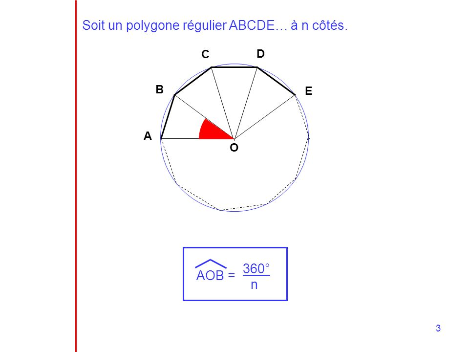 3 Soit un polygone régulier ABCDE… à n côtés. A B C D E O AOB = 360° n