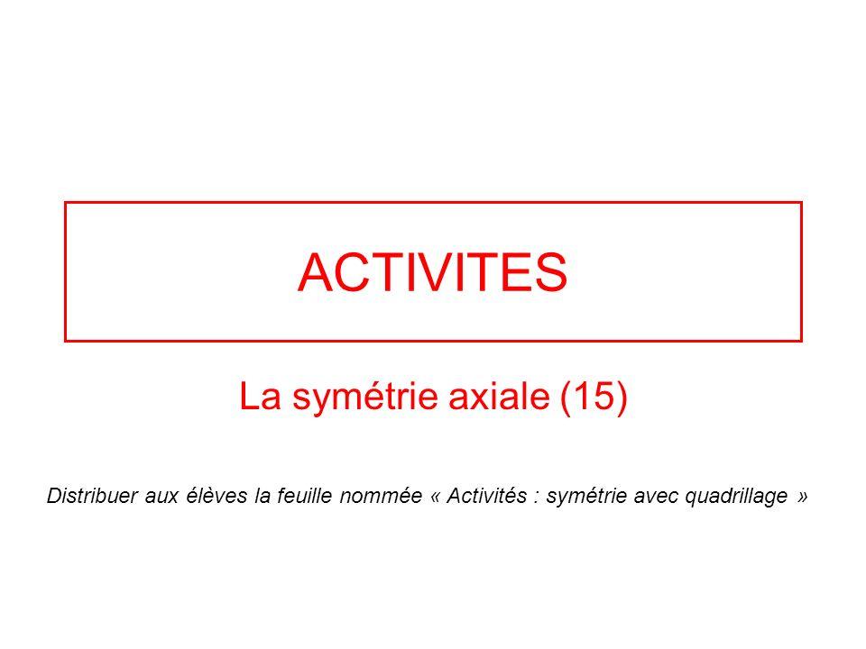 ACTIVITES La symétrie axiale (15) Distribuer aux élèves la feuille nommée « Activités : symétrie avec quadrillage »