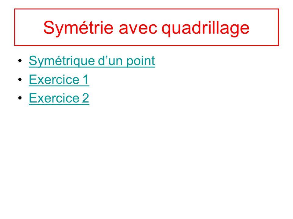 Symétrie avec quadrillage Symétrique dun point Exercice 1 Exercice 2
