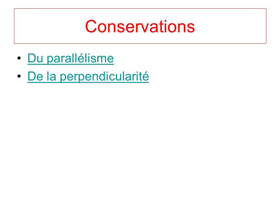 Conservations Du parallélisme De la perpendicularité