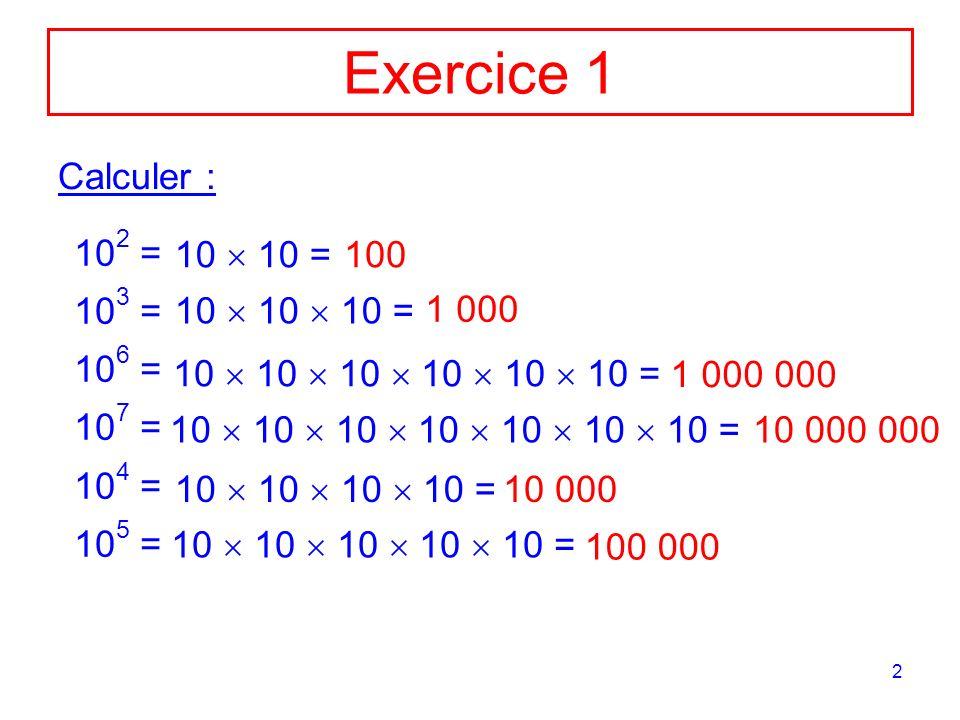 2 Exercice 1 Calculer : 10 2 = 10 3 = 10 6 = 10 7 = 10 4 = 10 5 = 10 10 = 100 10 10 10 = 1 000 10 10 10 10 10 10 = 1 000 000 10 10 10 10 10 10 10 = 10