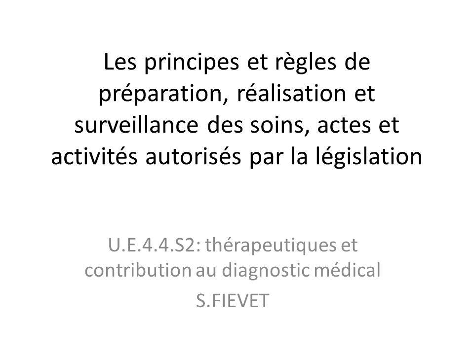 Les principes et règles de préparation, réalisation et surveillance des soins, actes et activités autorisés par la législation U.E.4.4.S2: thérapeutiq