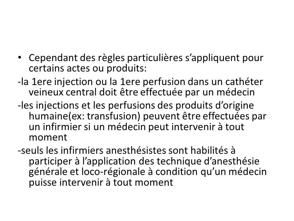Cependant des règles particulières sappliquent pour certains actes ou produits: -la 1ere injection ou la 1ere perfusion dans un cathéter veineux centr