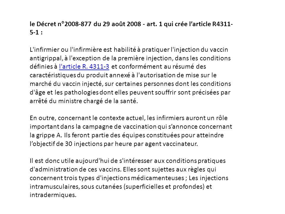 le Décret n°2008-877 du 29 août 2008 - art. 1 qui crée larticle R4311- 5-1 : L'infirmier ou l'infirmière est habilité à pratiquer l'injection du vacci
