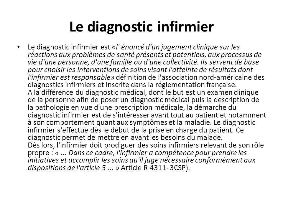 Le diagnostic infirmier Le diagnostic infirmier est «l' énoncé d'un jugement clinique sur les réactions aux problèmes de santé présents et potentiels,