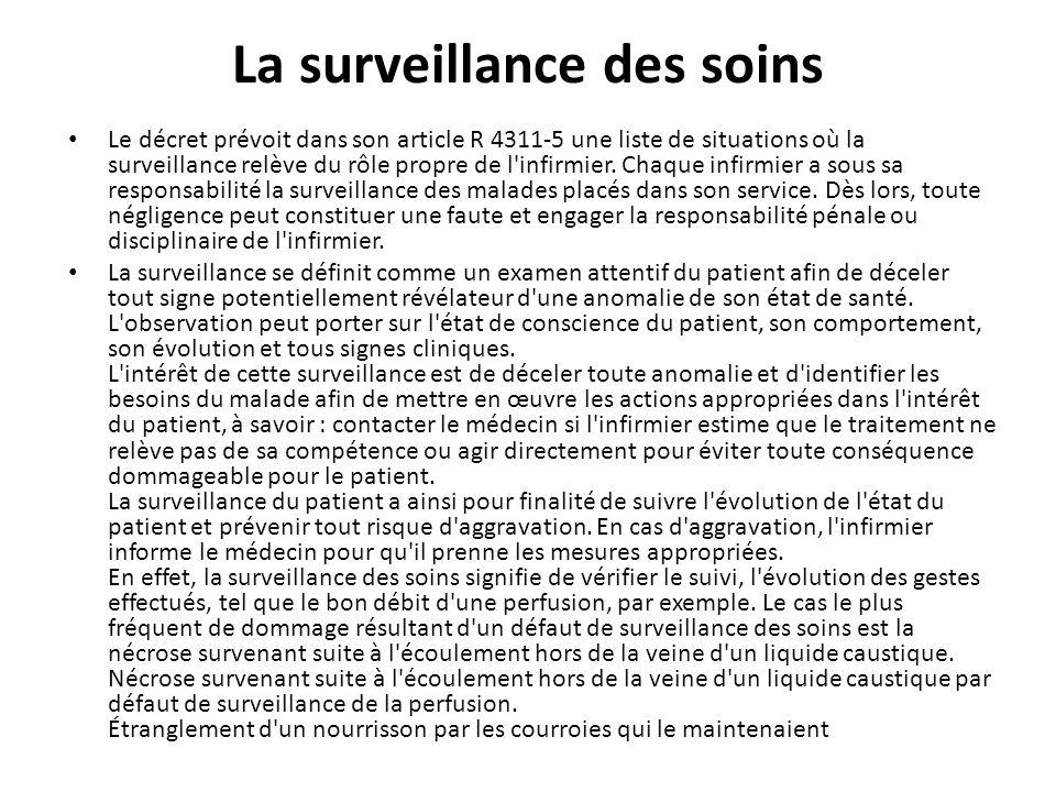 La surveillance des soins Le décret prévoit dans son article R 4311-5 une liste de situations où la surveillance relève du rôle propre de l'infirmier.