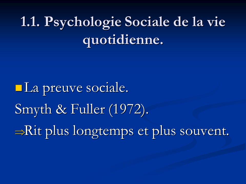 1.1. Psychologie Sociale de la vie quotidienne. La preuve sociale. La preuve sociale. Smyth & Fuller (1972). Rit plus longtemps et plus souvent. Rit p