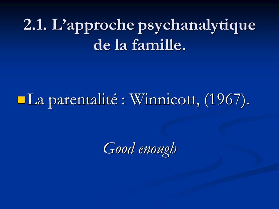 2.1. Lapproche psychanalytique de la famille. La parentalité : Winnicott, (1967). La parentalité : Winnicott, (1967). Good enough
