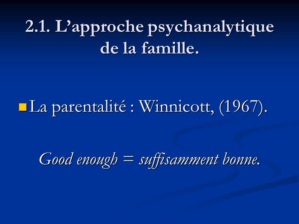 2.1. Lapproche psychanalytique de la famille. La parentalité : Winnicott, (1967). La parentalité : Winnicott, (1967). Good enough = suffisamment bonne