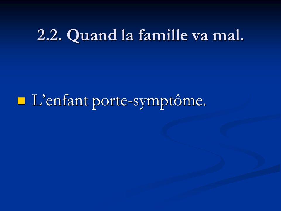 2.2. Quand la famille va mal. Lenfant porte-symptôme. Lenfant porte-symptôme.