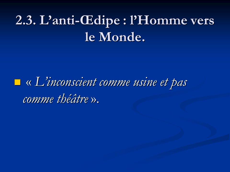 2.3. Lanti-Œdipe : lHomme vers le Monde. « Linconscient comme usine et pas comme théâtre ». « Linconscient comme usine et pas comme théâtre ».