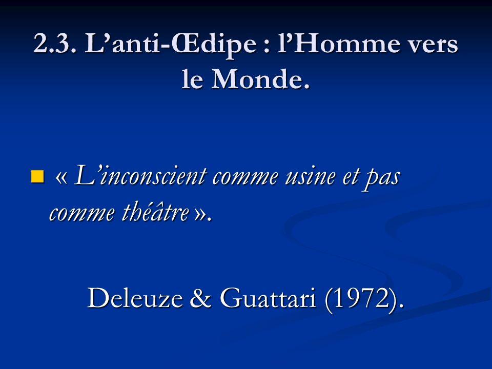2.3. Lanti-Œdipe : lHomme vers le Monde. « Linconscient comme usine et pas comme théâtre ». « Linconscient comme usine et pas comme théâtre ». Deleuze