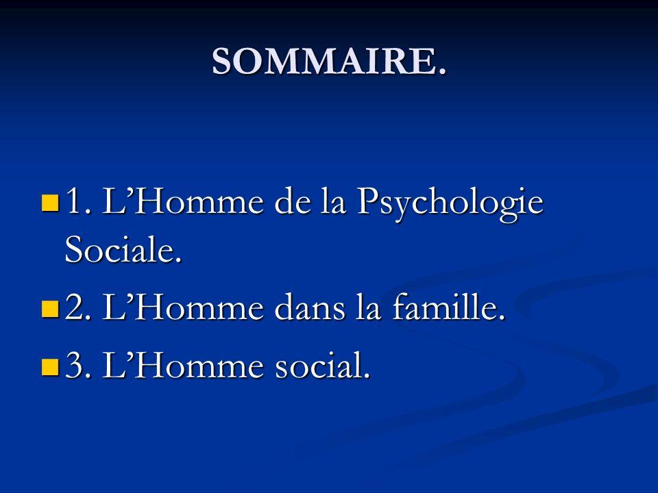 SOMMAIRE. 1. LHomme de la Psychologie Sociale. 1. LHomme de la Psychologie Sociale. 2. LHomme dans la famille. 2. LHomme dans la famille. 3. LHomme so