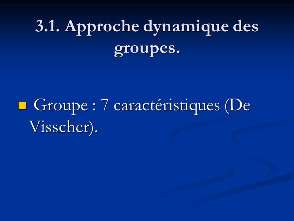 3.1. Approche dynamique des groupes. Groupe : 7 caractéristiques (De Visscher). Groupe : 7 caractéristiques (De Visscher).
