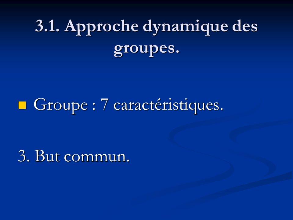 3.1. Approche dynamique des groupes. Groupe : 7 caractéristiques. Groupe : 7 caractéristiques. 3. But commun.