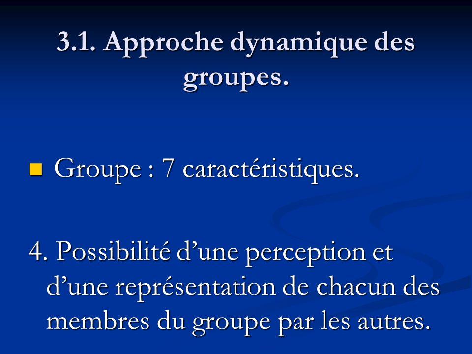 3.1. Approche dynamique des groupes. Groupe : 7 caractéristiques. Groupe : 7 caractéristiques. 4. Possibilité dune perception et dune représentation d