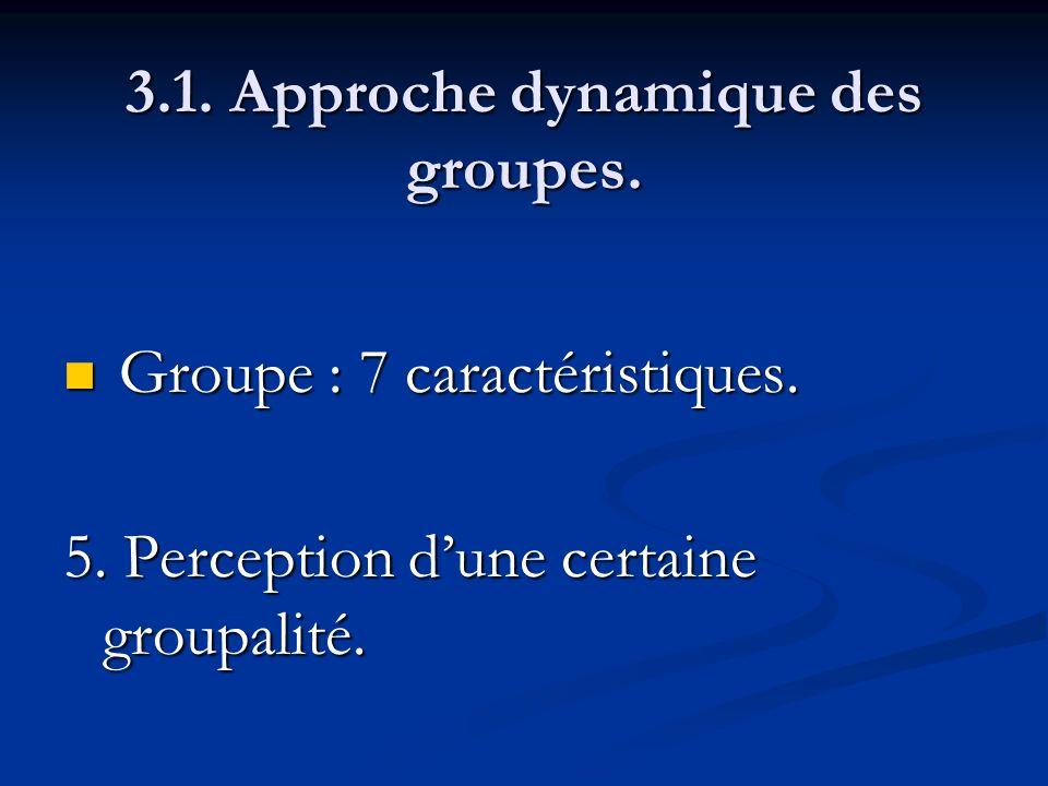 3.1. Approche dynamique des groupes. Groupe : 7 caractéristiques. Groupe : 7 caractéristiques. 5. Perception dune certaine groupalité.