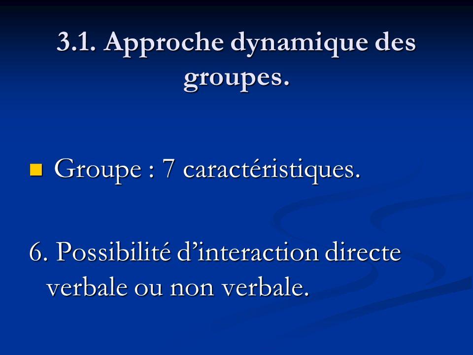 3.1. Approche dynamique des groupes. Groupe : 7 caractéristiques. Groupe : 7 caractéristiques. 6. Possibilité dinteraction directe verbale ou non verb