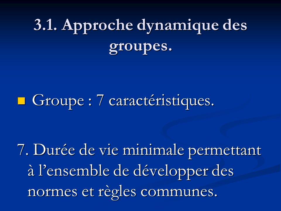 3.1. Approche dynamique des groupes. Groupe : 7 caractéristiques. Groupe : 7 caractéristiques. 7. Durée de vie minimale permettant à lensemble de déve