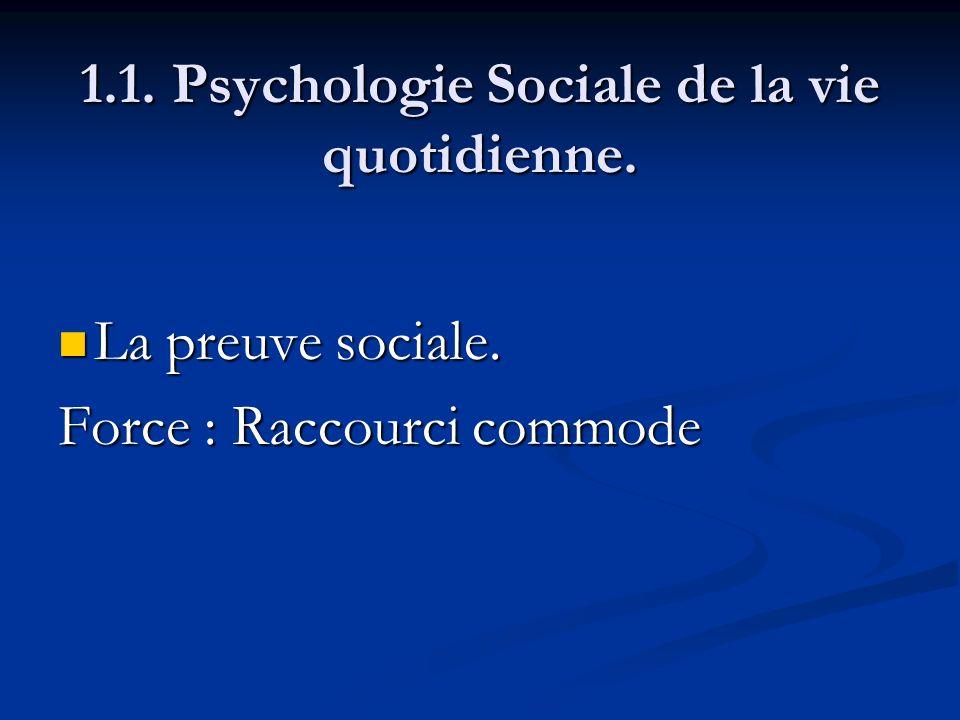1.1. Psychologie Sociale de la vie quotidienne. La preuve sociale. La preuve sociale. Force : Raccourci commode