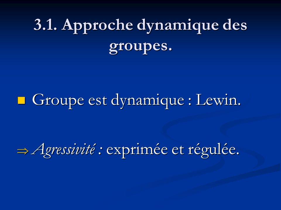3.1. Approche dynamique des groupes. Groupe est dynamique : Lewin. Groupe est dynamique : Lewin. Agressivité : exprimée et régulée. Agressivité : expr